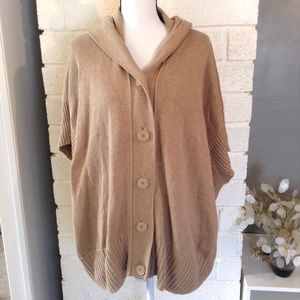 Caslon Tan Camel Hooded Poncho Style Sweater
